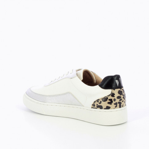 White and silver sneakers with leopard detailing