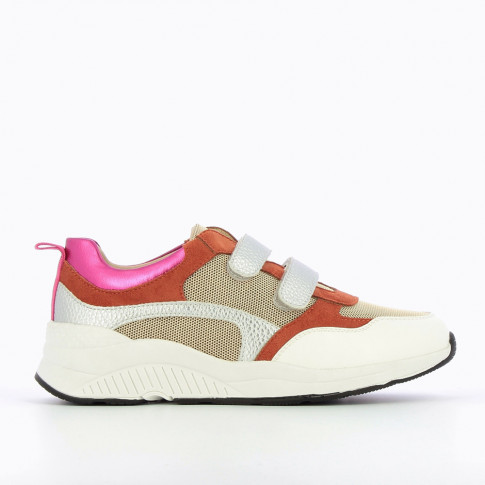 Multicoloured lightweight sneakers with silver velcro