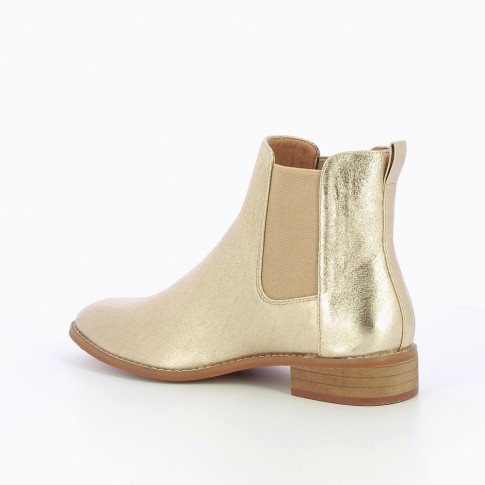 Textured gold Chelsea boots