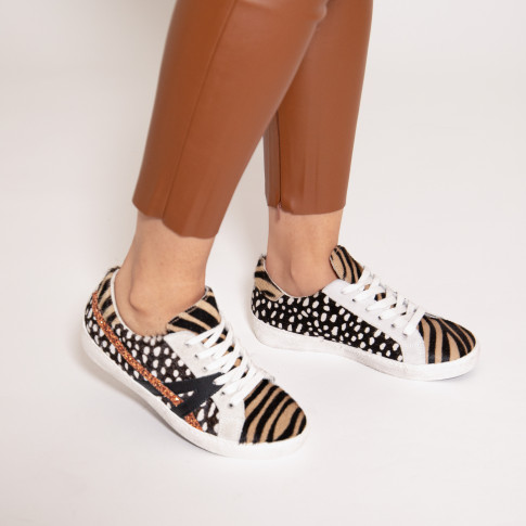 Faux fur sneakers with rust coloured stripe