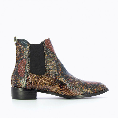 Bottines Chelsea camel effet serpent