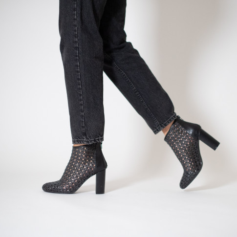 Black openwork ankle boot with heel