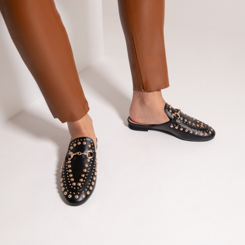 Black slip-on loafer with bit and studs