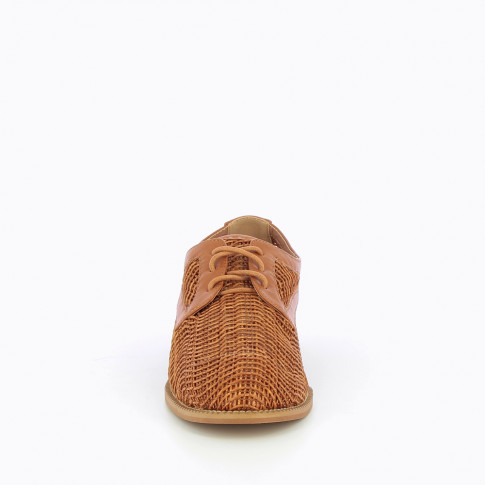 Camel derbies in woven material