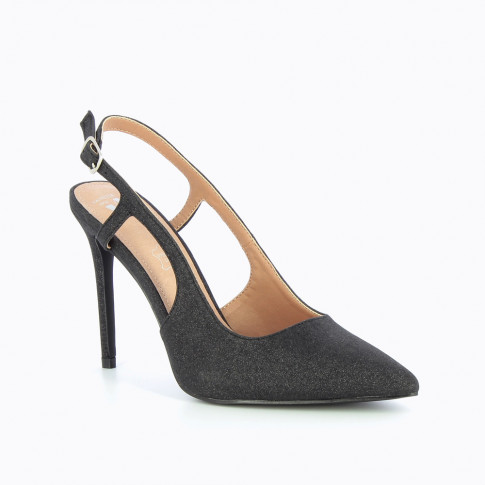 Black glittery slingback pumps