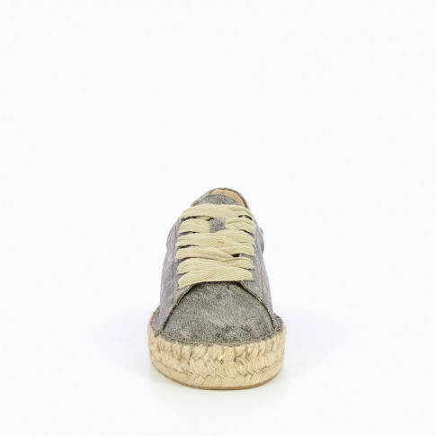 Black and gold iridescent espadrille sneakers