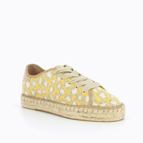 Yellow espadrille sneakers with woven leopard print