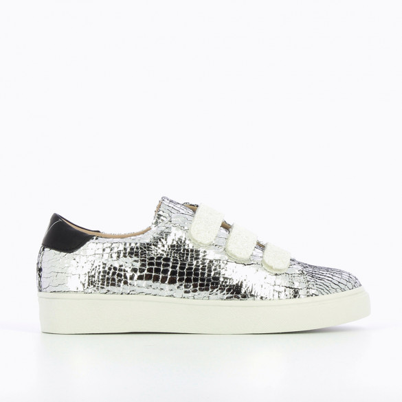 Silver crackled effect sneakers with snow effect velcro