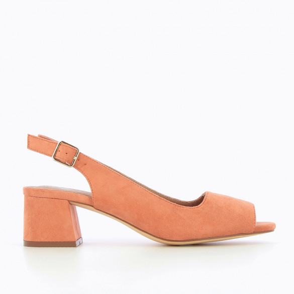 Salmon pink suedette peep-toe pumps