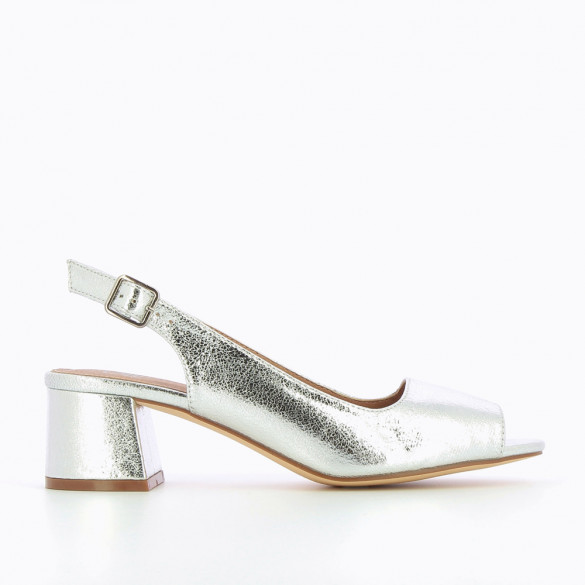 Silver crackled effect peep-toe pumps