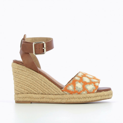 Espadrille wedges with woven orange leopard-print