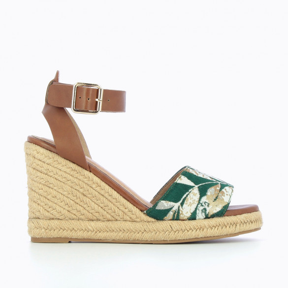 Espadrille wedges with green Jacquard fabric