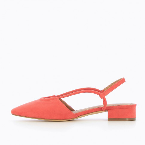 Flat suedette Mary Janes in coral