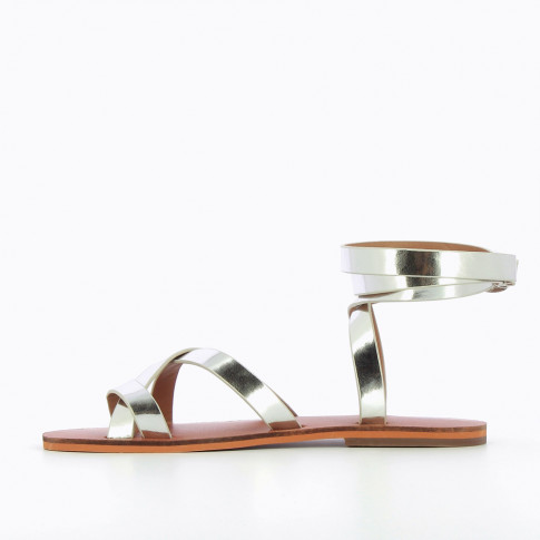 Silver sandals with wrap-around ankle strap