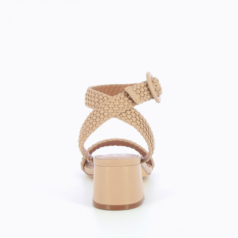 Rose-taupe braided sandal with heel
