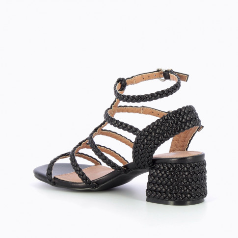 Black braided sandals with heel