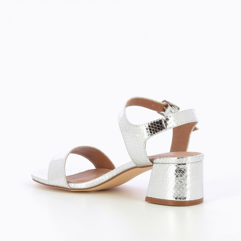 Silver sandals with low block heel
