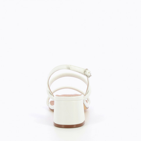 White minimalist sandals with heel