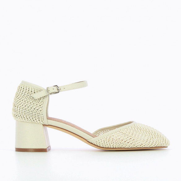 Cream braided Mary Janes with heel