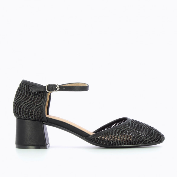 Black braided Mary Janes with heel