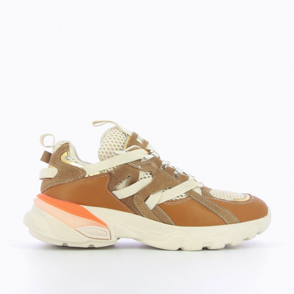 Camel sneakers with grosgrain straps
