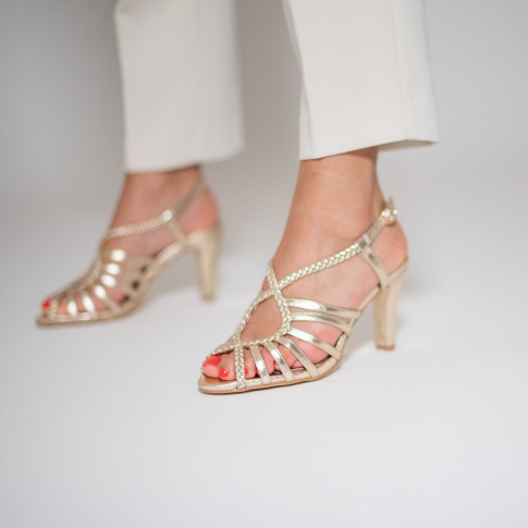 Gold braided cross-strap sandals with heel