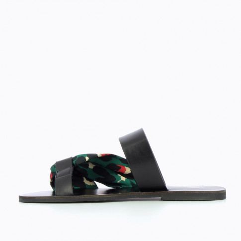 Black mules with green leopard-print scarf