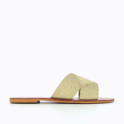 Mules or effet paille