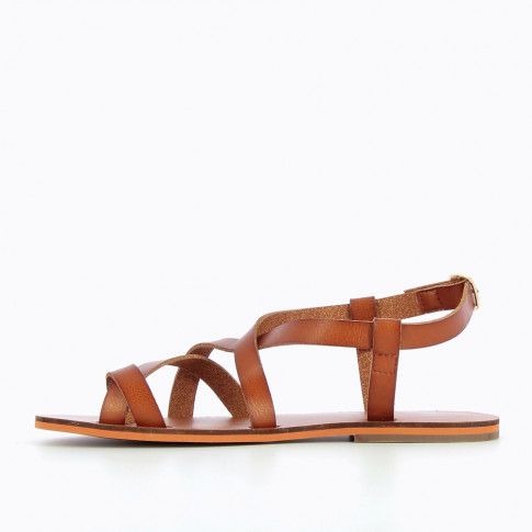 Camel faux-leather gladiators