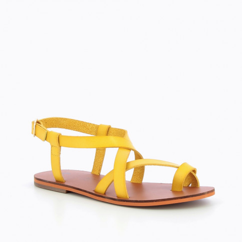 Yellow faux-leather gladiators