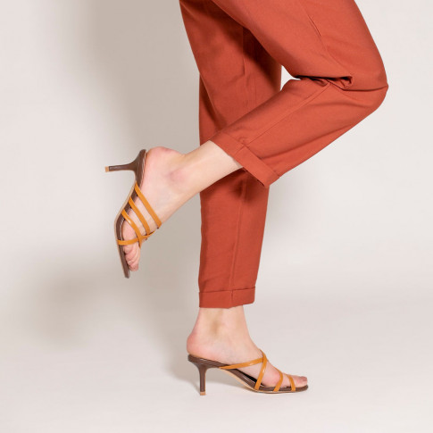 Camel multi-strap mules with heel