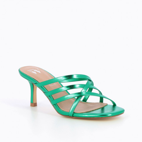 Metallic green multi-strap mules with heel