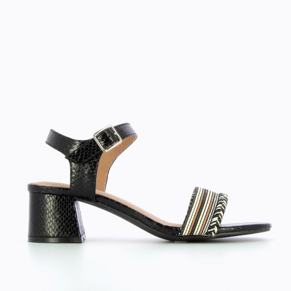 Black sandals with low block heel and braided strap
