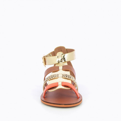 Gold and camel gladiators with orange straps