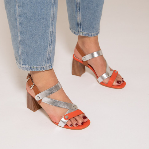 Silver and coral sandals with riveted straps