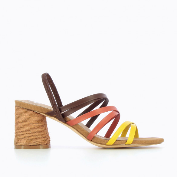 Brown multi-strap sandals with nude heel