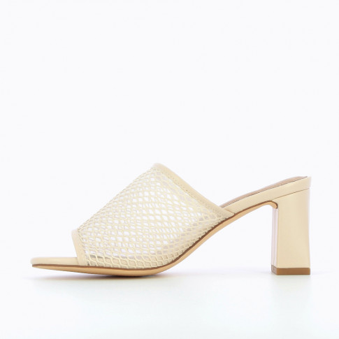 Mules with nude heel and net effect