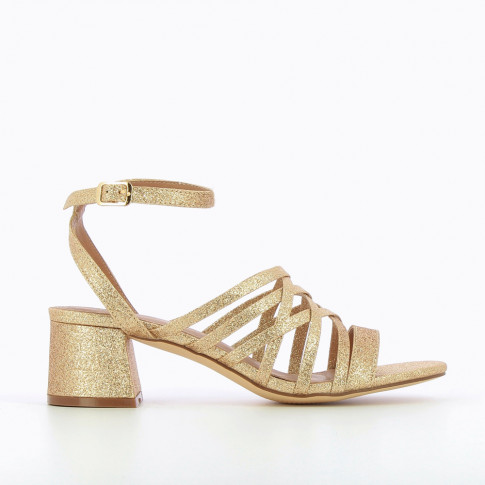 Glittery gold multi-strap sandals with heel