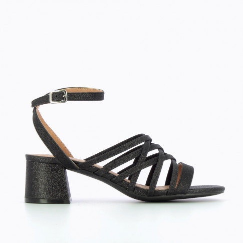 Glittery black multi-strap sandals with heel