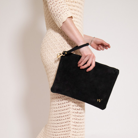 Large suede clutch in black