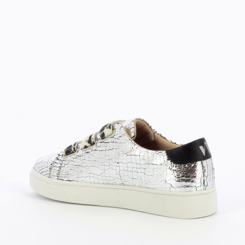 Silver crackled effect sneakers with cow-print velcro