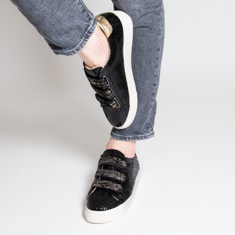Black crackled effect sneakers with zebra-print velcro