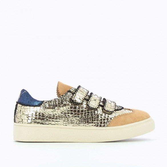 sneakers Vanessa Wu plateau crackled effect gold velcro beige and iridescent blue yoke woman
