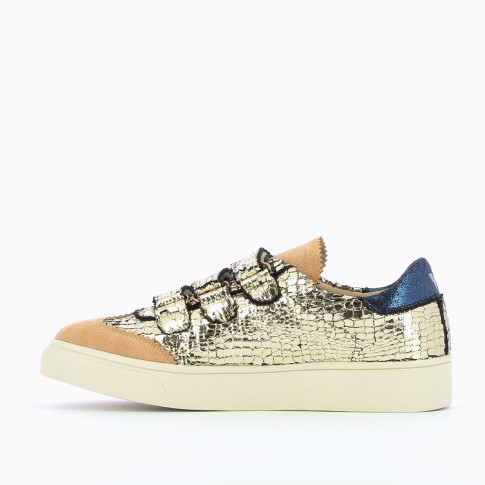 Gold crackled effect sneakers with iridescent blue details