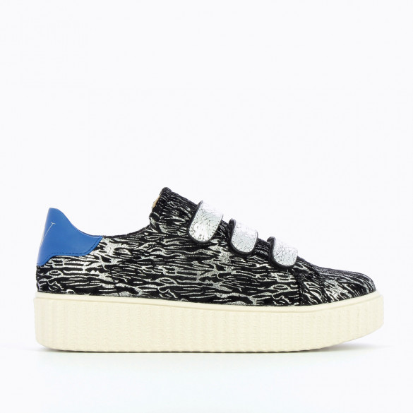sneakers woman platform creeper sole white Vanessa Wu velvet zebra print with silver velcro