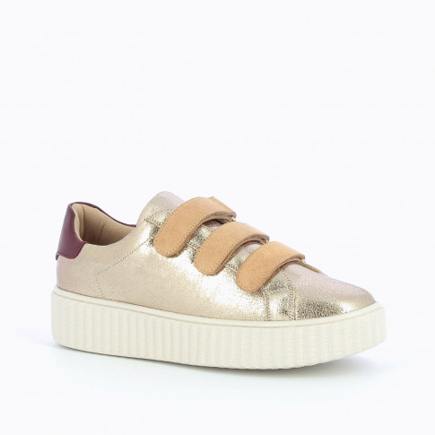 Gold and beige sneakers with creeper sole