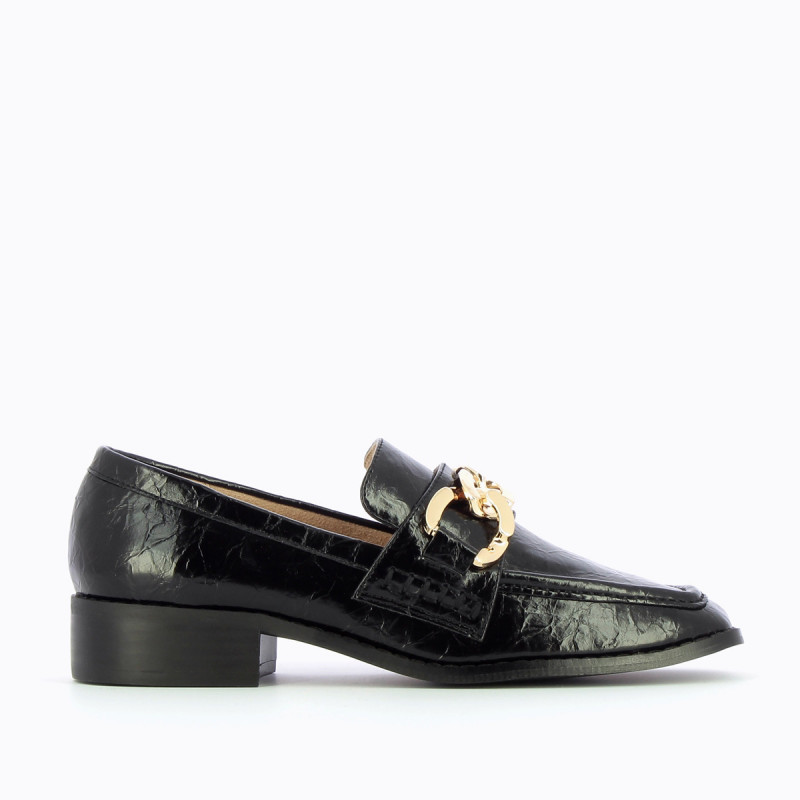 Black loafers with gold chain - Vanessa