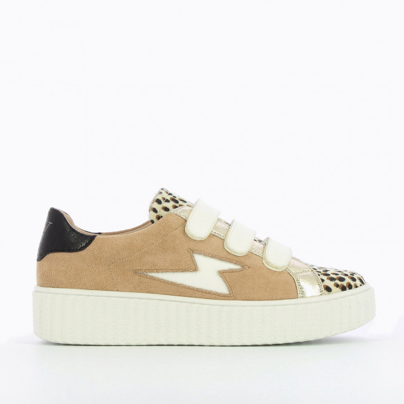 womens sneakers Vanessa Wu beige white platform velcro leopard and gold yokes