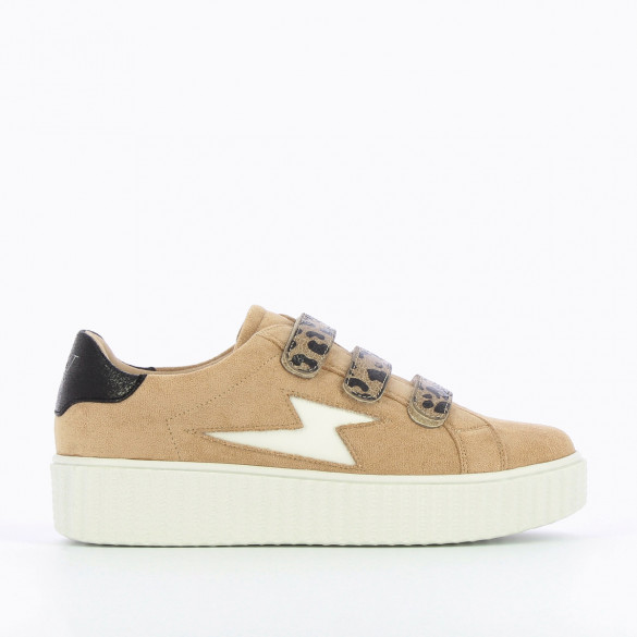 beige sneakers woman Vanessa Wu leopard velcro white creeper sole and white lightning