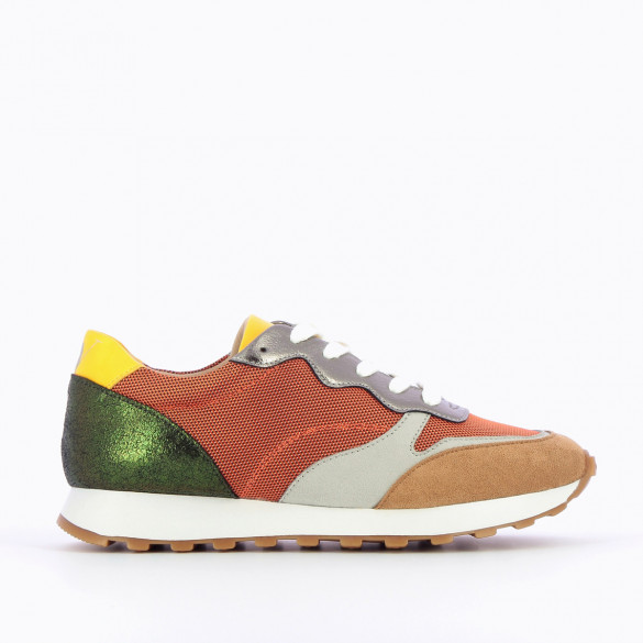 track sneakers for women Vanessa Wu orange with laces multicolored yokes green yellow grey beige